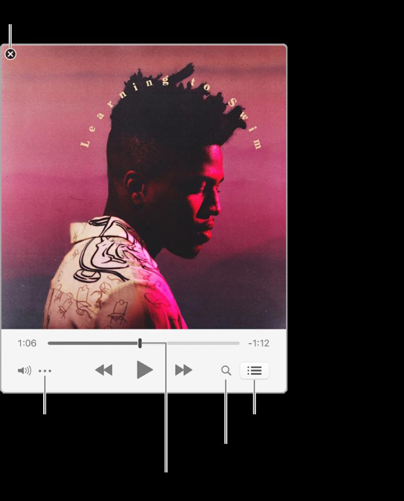 Den expanderade minispelaren som visar reglage för låten som spelas. I det övre vänstra hörnet finns stängningsknappen som du använder när du vill växla över till det fullstora iTunes-fönstret. Längst ned i fönstret finns ett reglage. Dra i det om du vill gå till en annan del av låten. Till vänster under reglaget finns knappen för åtgärdsmenyn där du kan välja visningsalternativ och andra alternativ för den låt som spelas. Längst till höger under reglaget finns två knappar – förstoringsglaset för att söka i musikbiblioteket och listan Nästa där du kan se vad som kommer att spelas härnäst.