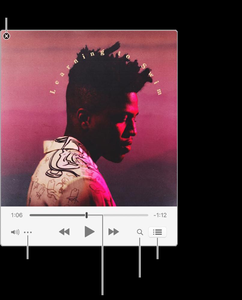เครื่องเล่นขนาดเล็กที่ขยายออกแล้วซึ่งแสดงตัวควบคุมของเพลงที่กำลังเล่น ที่มุมซ้ายบนคือปุ่มปิด ใช้เพื่อสลับไปที่หน้าต่าง iTunes แบบเต็ม ที่ด้านล่างของหน้าต่างคือแถบเลื่อนที่คุณสามารถลากไปยังส่วนอื่นๆ ของเพลงได้ ใต้แถบเลื่อนที่ด้านซ้ายคือปุ่มเมนูการกระทำ ที่คุณสามารถเลือกตัวเลือกมุมมองและตัวเลือกอื่นๆ สำหรับเพลงที่กำลังเล่นได้ ที่ด้านขวาสุดใต้แถบเลื่อนมีปุ่มสองปุ่ม ได้แก่ ปุ่มแว่นขยายเพื่อค้นหาคลังเพลง และปุ่มรายการถัดไปเพื่อดูว่าเล่นเพลงอะไรต่อไป
