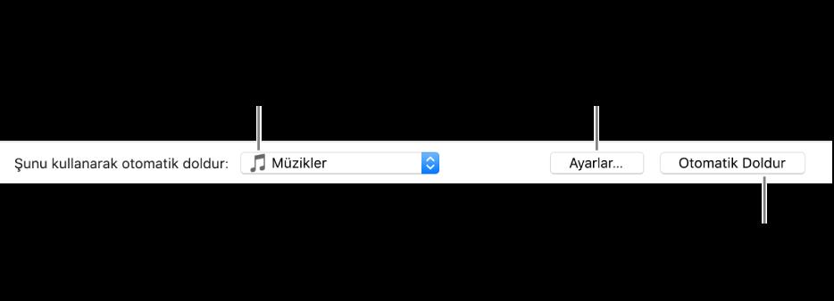 Müzik bölmesinin alt kısmındaki Otomatik Doldurma seçenekleri. En solda, parçaları listeden veya tüm arşivinizden ekleme seçeneklerini bulabileceğiniz Şunu Kullanarak Otomatik Doldur açılır menüsü bulunur. En sağda, çeşitli Otomatik Doldur seçeneklerini değiştirebileceğiniz Ayarlar ile Otomatik Doldur adlı iki düğme var. Otomatik Doldur'u tıkladığınızda, aygıtınız ölçüte uyan parçalarla doldurulur.