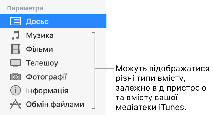 Вибраний на бічній панелі ліворуч розділ «Досьє». Можуть відображатися різні типи вмісту, залежно від пристрою та вмісту вашої медіатеки iTunes.