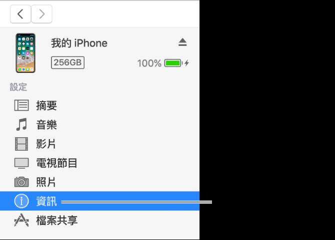 「裝置」視窗,在左側側邊欄選取了「資訊」。