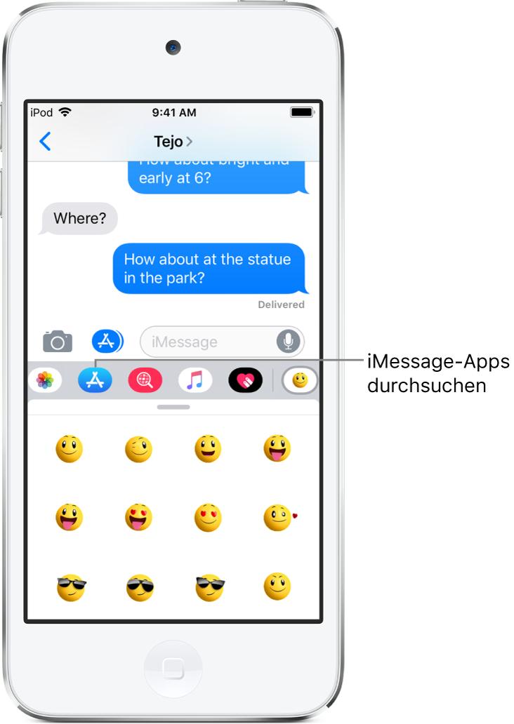 """Eine Konversation in der App """"Nachrichten"""" mit der ausgewählten Taste """"App-Übersicht"""" bei Verwendung von iMessage. In der geöffneten Übersicht sind Smiley-Sticker zu sehen."""
