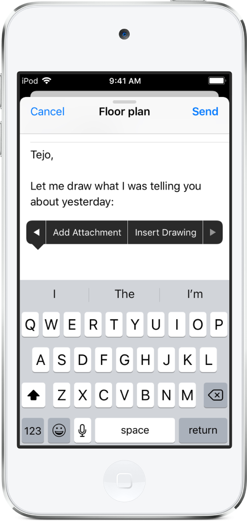 A screen showing how to begin to insert a drawing in the body of an email. In the email body the Add Attachment button appears next to the Insert Drawing button, which opens the drawing and annotation tools.