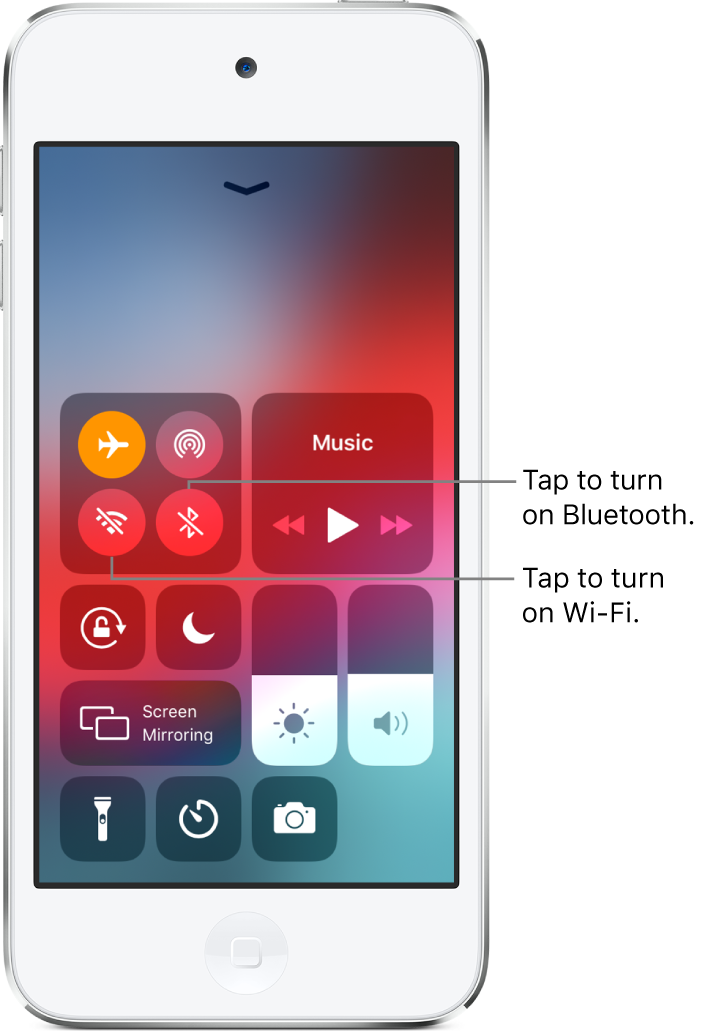 Control Center with airplane mode on, with callouts explaining that tapping the bottom-left button in the top-left group of controls turns on Wi-Fi and tapping the bottom-right button in that group turns on Bluetooth.
