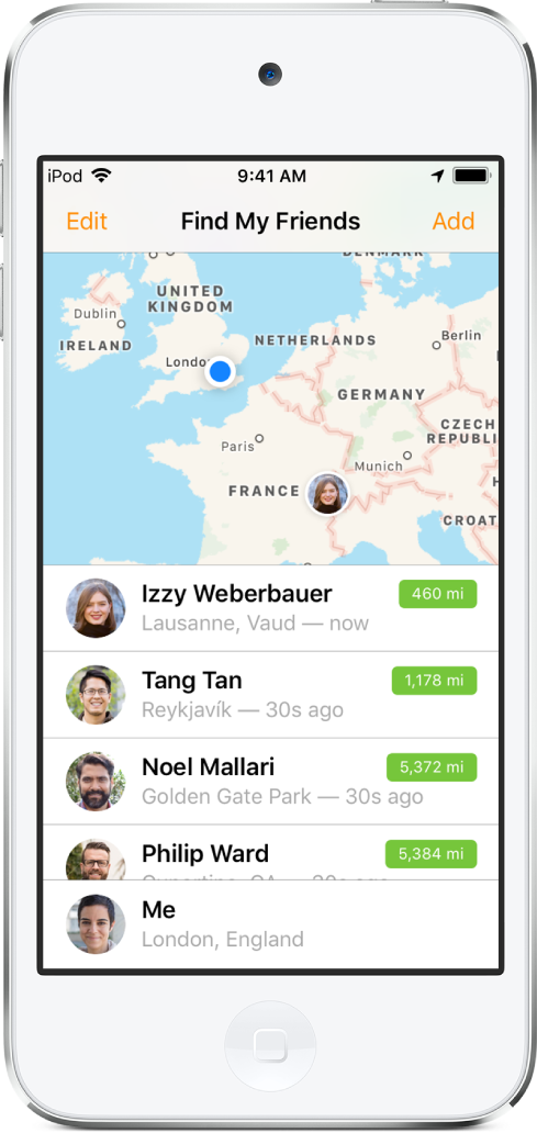 A Find My Friends screen, with a map at the top showing the locations of your friends, and a list at the bottom showing your friends' names, their locations, and their distance from you.