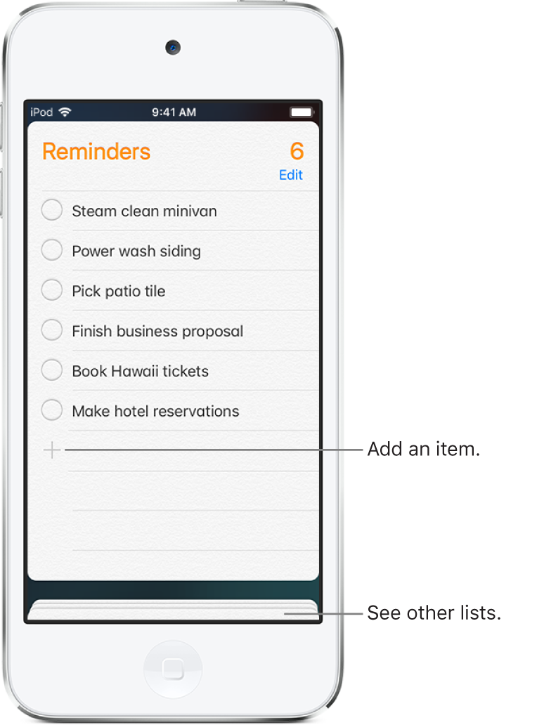 A Reminders screen showing a list of reminders. An Add button appears at the bottom left of the list.