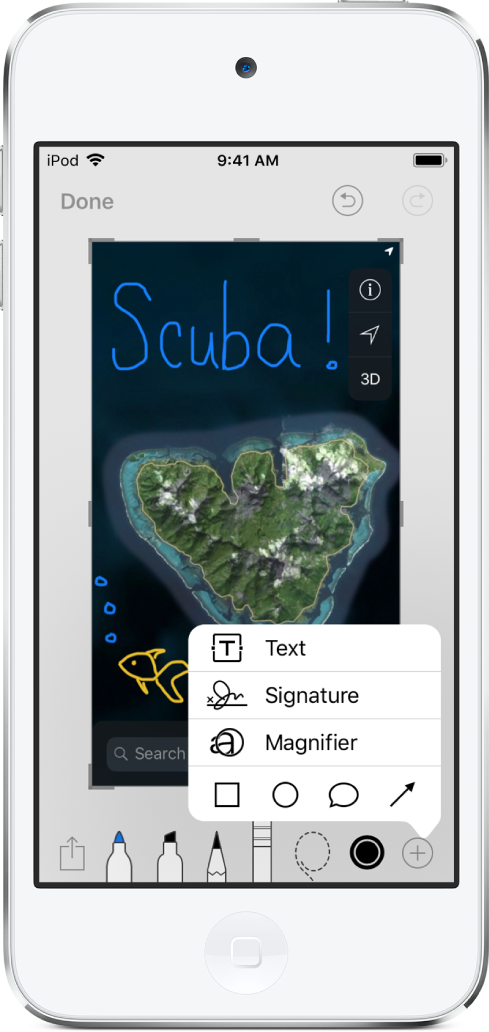 A map image is annotated in blue and yellow handwriting. Drawing tools and the color selector appear at the bottom of the screen. A menu with choices to add text, a signature, magnifying glass, and shapes appears in the lower-right corner.