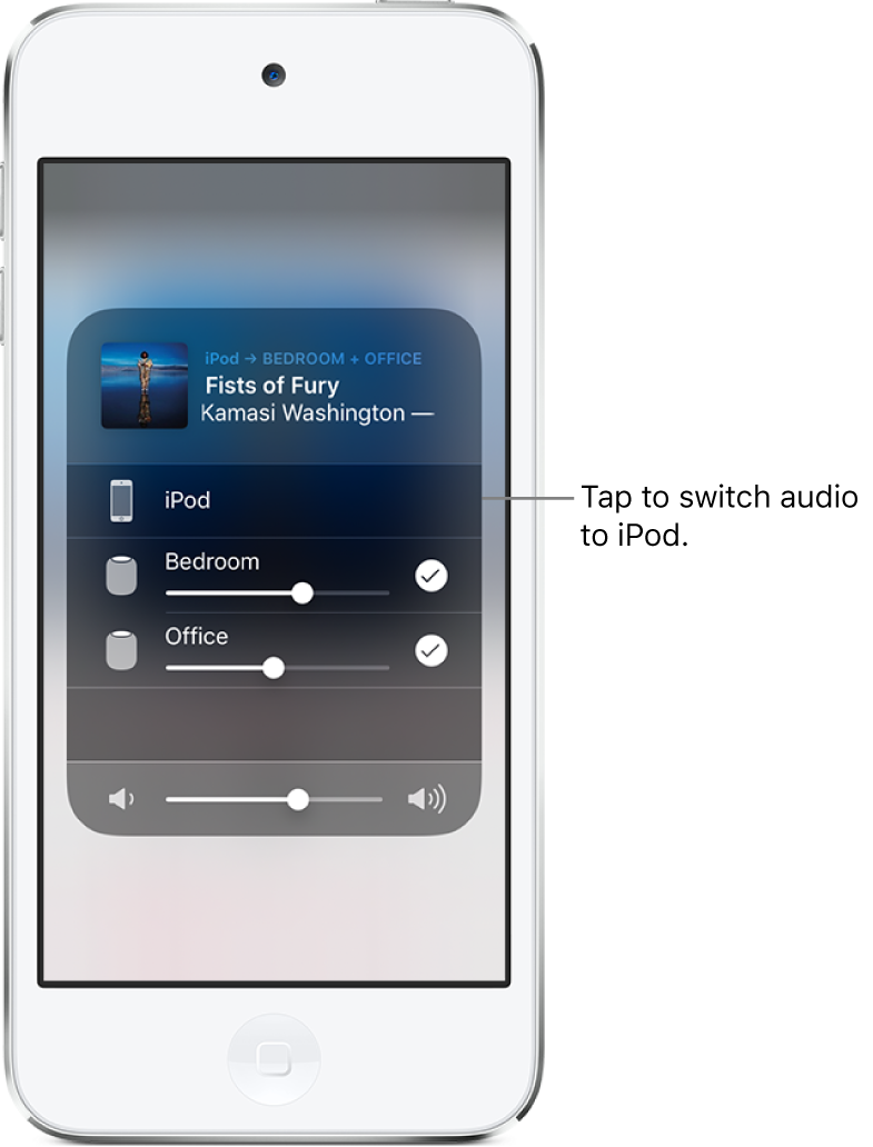 "An AirPlay window is open and shows a song title and artist name at the top, with a volume slider at the bottom. The bedroom and office speakers are selected. A callout points to iPod touch and reads, ""Tap to switch audio to iPod."""