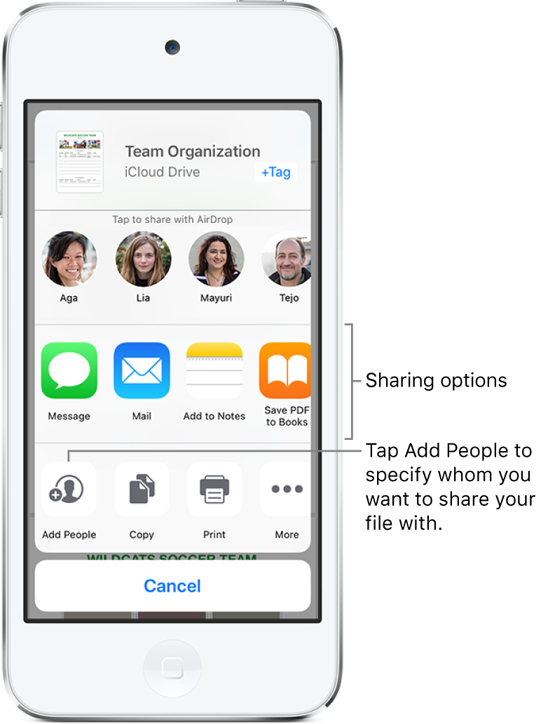 The File Share screen. At the top is the file selected to share. Below that are people you can share with using AirDrop. The next row shows sharing options, including Message, Mail, and Add to Notes. The bottom row has buttons for actions, including Add People, Copy, and Print.