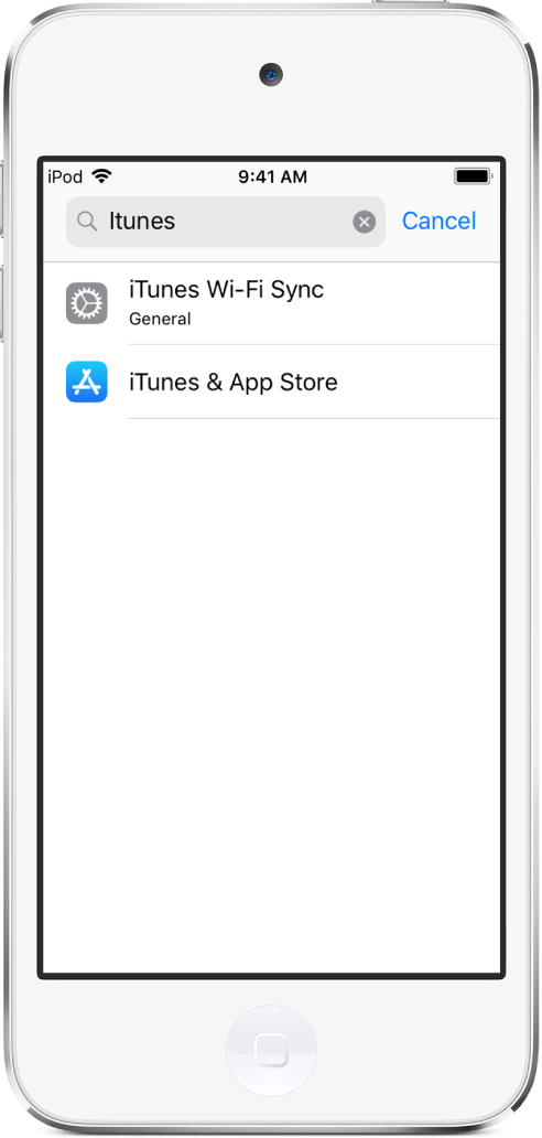 """The screen for searching for settings, with the search field at the top of the screen. The search string """"iTunes"""" is in the search field, and two found settings are in the list below."""