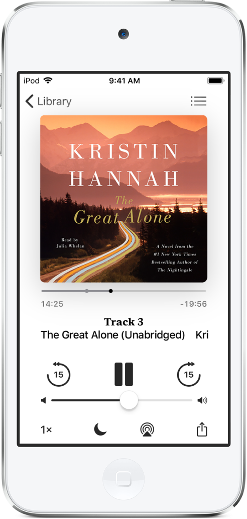 The audiobook player screen showing the audiobook cover at the top. Below the cover are the playhead, track number, author and audiobook name, and the play, pause, and skip forward or back controls. At the bottom of the screen, from left to right, are the Playback Speed button, Sleep Timer button, Playback Destination button, and Share button. The Track List button is at the top right and the Close button is at the top left.