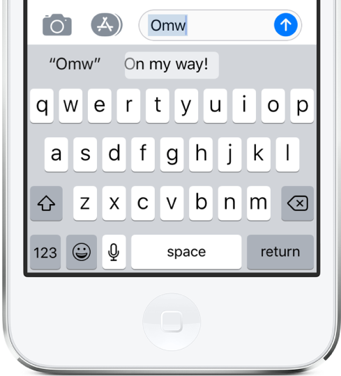 """A message with the text shortcut OMW typed and """"On my way!"""" suggested below."""