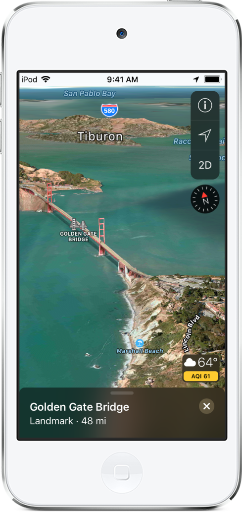 A 3D satellite map of the area around the Golden Gate Bridge. A compass and other controls appear in the upper right, and a weather icon with a temperature reading and an air quality index appears in the lower right.