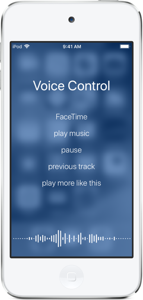 The Voice Control screen, showing examples of commands you can use. A waveform appears along the bottom of the screen.