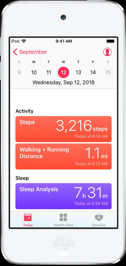 Écran Aujourd'hui de l'app Santé montrant le nombre de pas que vous avez réalisés aujourd'hui et la distance parcourue en marchant ou en courant.