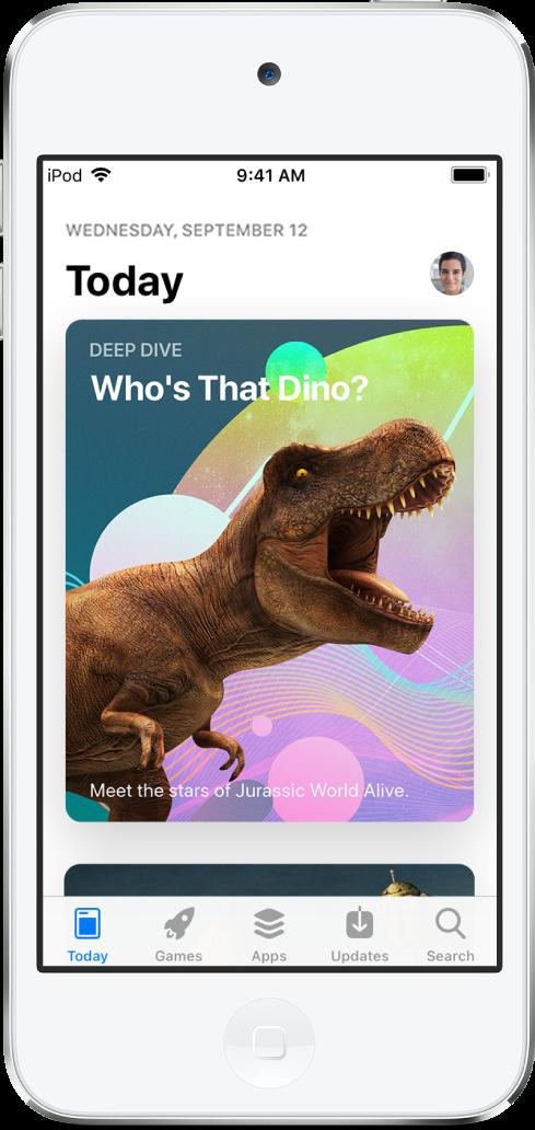 L'écran Aujourd'hui de l'AppStore, avec une app recommandée. En bas de l'écran, de gauche à droite, se trouvent les onglets Aujourd'hui, Jeux, Apps, Mises à jour et Recherche.