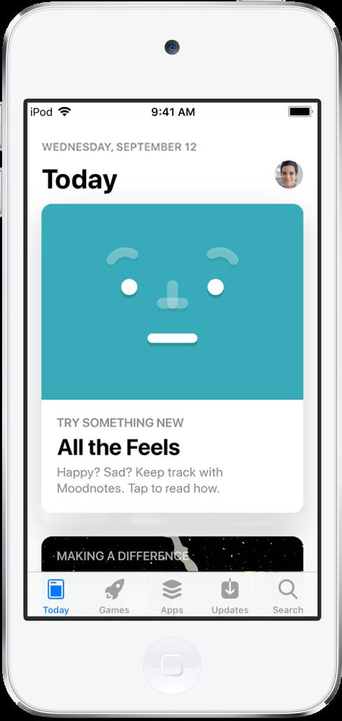 추천 앱을 표시하는 App Store의 투데이 화면. 하단 왼쪽에서 오른쪽으로 투데이, 게임, 앱, 업데이트 및 검색 탭.