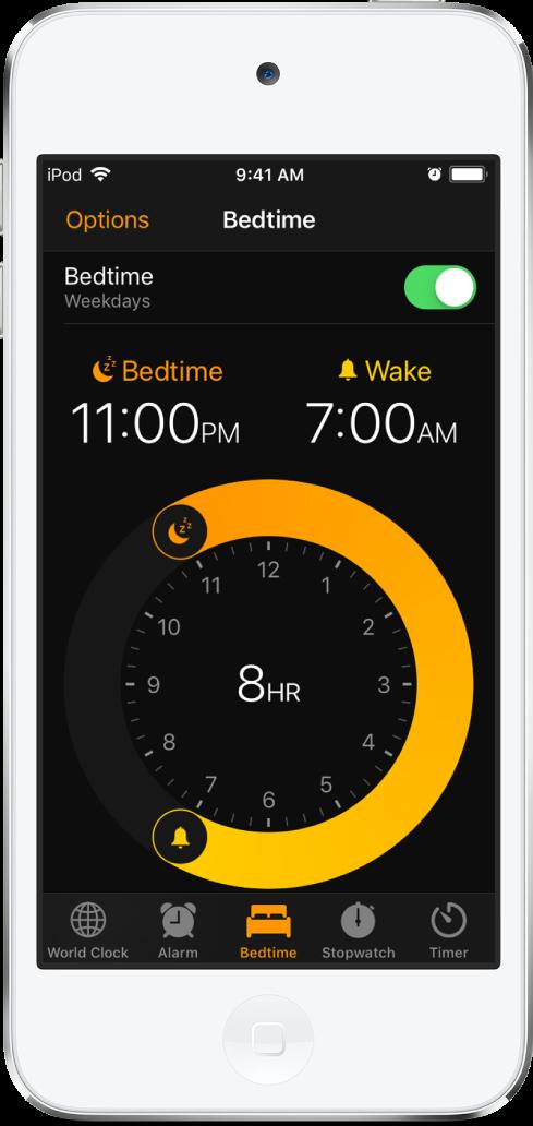 잠자기 시간이 오후 11시로 설정되어 있고 깨우기 시간이 오전 7시로 설정된 취침 시간 탭.
