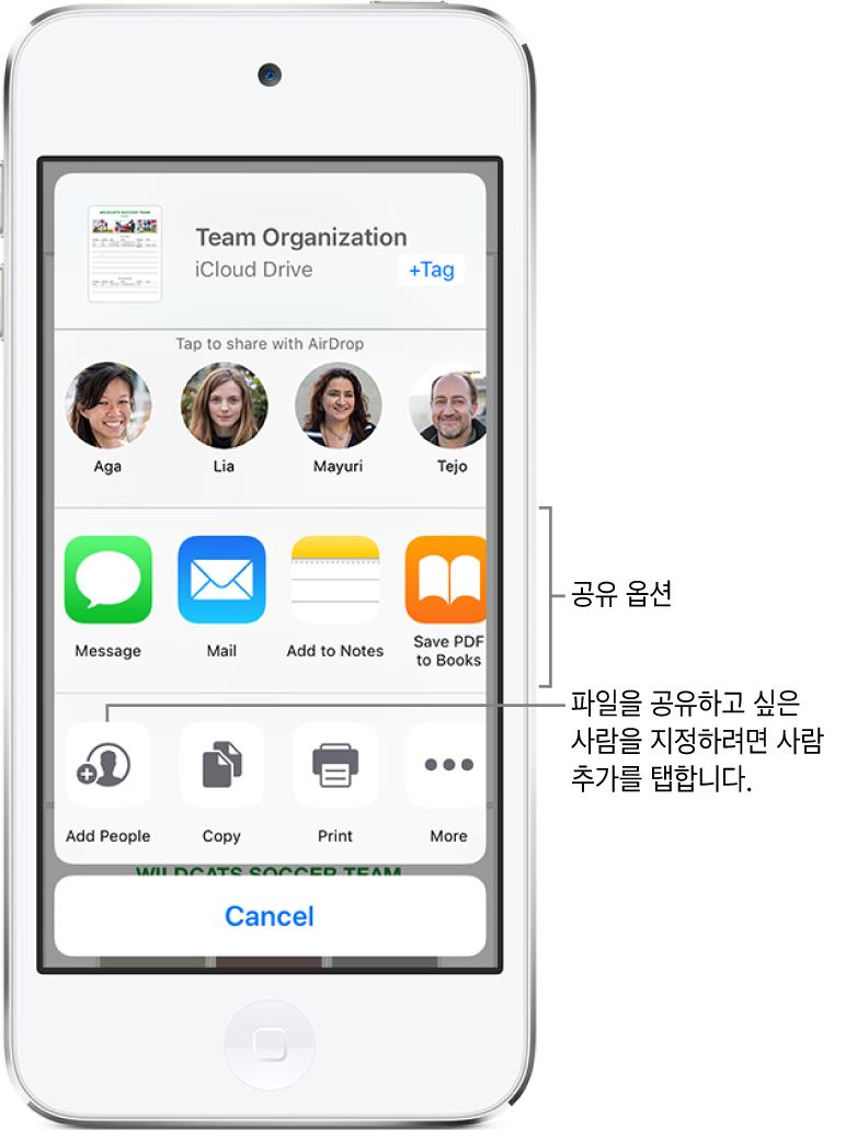 파일 공유 화면. 상단에는 공유하기 위하여 파일이 선택된 화면. 그 아래에는 사용자가 AirDrop을 통해 공유할 수 있는 사람들. 다음 행에는 메시지, Mail 및 메모에 추가를 포함한 공유 옵션이 나타남. 하단 행에는 구성원 추가, 복사 및 프린트를 포함한 동작 버튼이 있음.