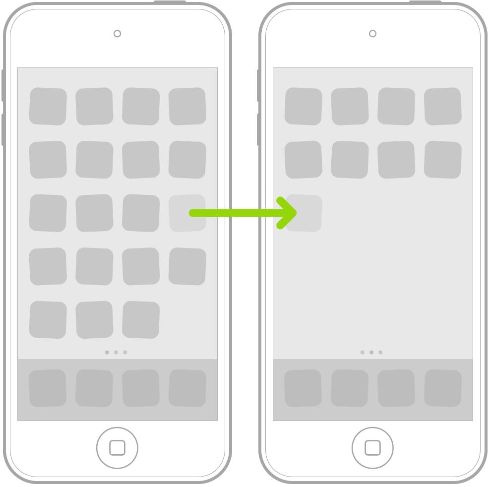 하나의 앱 아이콘이 다음 페이지로 드래그됨을 나타내는 화살표가 있는 홈 화면에 표시된 흔들리는 아이콘.
