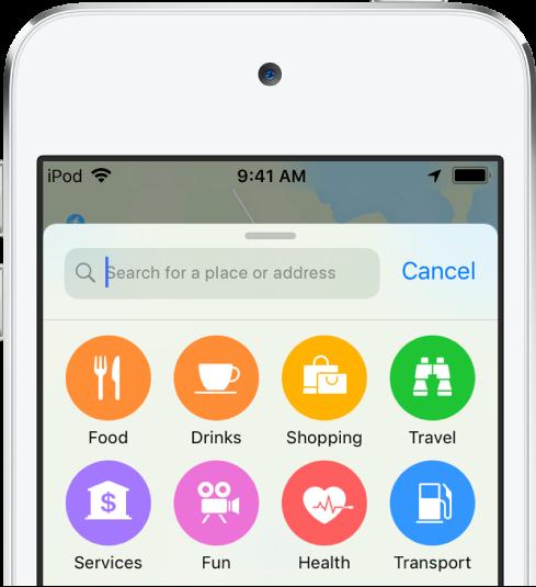 검색 필드 아래에 8개 업체의 버튼이 나타남. 상단의 행에 있는 버튼에 음식, 음료, 쇼핑 및 여행 꼬리표가 추가됨. 하단의 행에 있는 버튼에 서비스, 재미, 건강 및 대중교통 꼬리표가 추가됨.