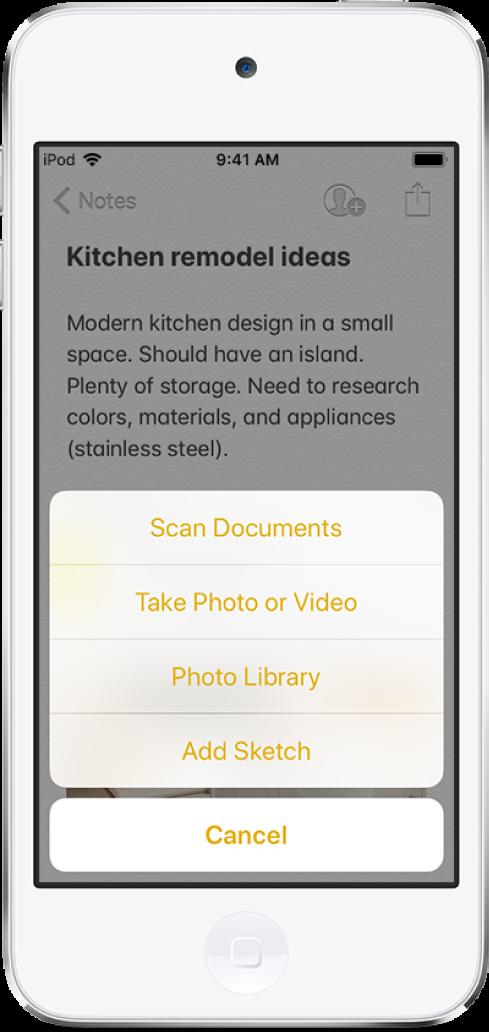 삽입 메뉴가 있는 메모에 도큐멘트 스캔하기, 사진 또는 비디오 찍기, 사진 보관함 또는 스케치 추가 선택이 나타남.
