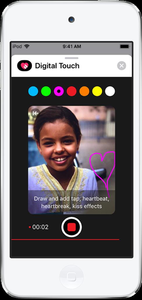 비디오 녹화 중에 Digital Touch 스케치 도구를 표시하는 그림 캔버스. 상단의 색상 선택기. 중앙 하단의 비디오 녹화 버튼.