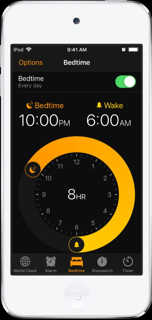 취침 시간이 매일 오후 10시로, 기상 시간이 매일 오전 6시로 설정된 시계 앱의 취침 시간 화면.