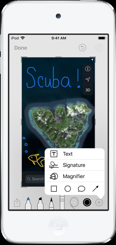 파란색 및 노란색 손글씨로 주석이 달려 있는 지도 이미지. 그리기 도구 및 색상 선택기가 화면 하단에 나타남. 텍스트, 서명, 돋보기 및 도형을 추가할 수 있는 메뉴가 오른쪽 하단 모서리에 나타남.