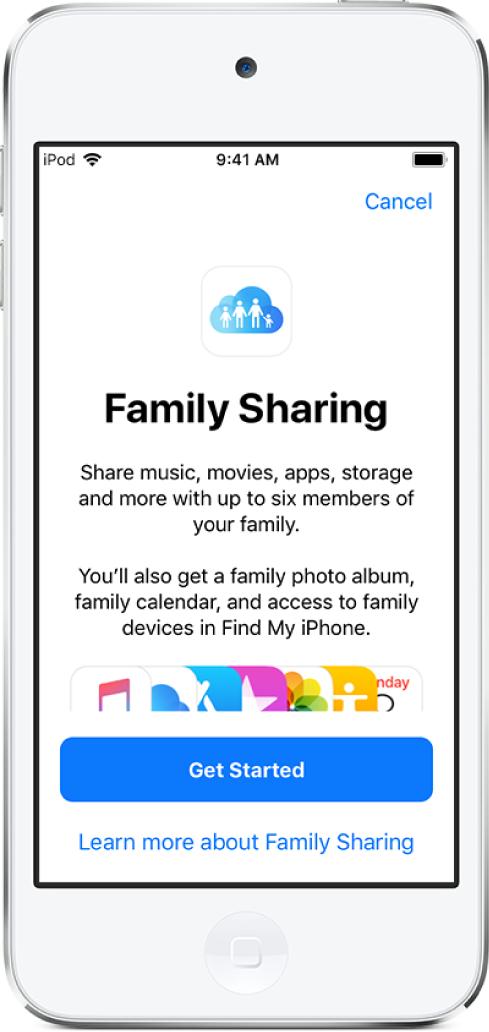 가족 공유 설정 시작 화면. 음악, 동영상, 앱, 저장 공간, 가족 사진 앨범 및 가족 캘린더를 포함한 가족 구성원과 공유 가능한 항목이 나열됨. 하단에는 시작하기 버튼과 가족 공유에 대해 더 알아보기 링크가 있음.