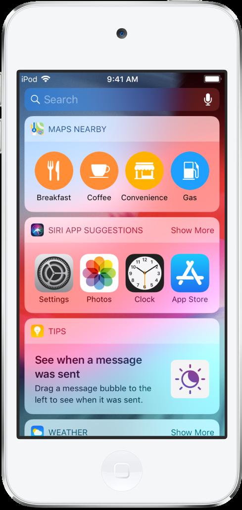 지도 앱의 위젯, Siri 앱의 제안, 팁 및 날씨를 표시하는 오늘 보기.
