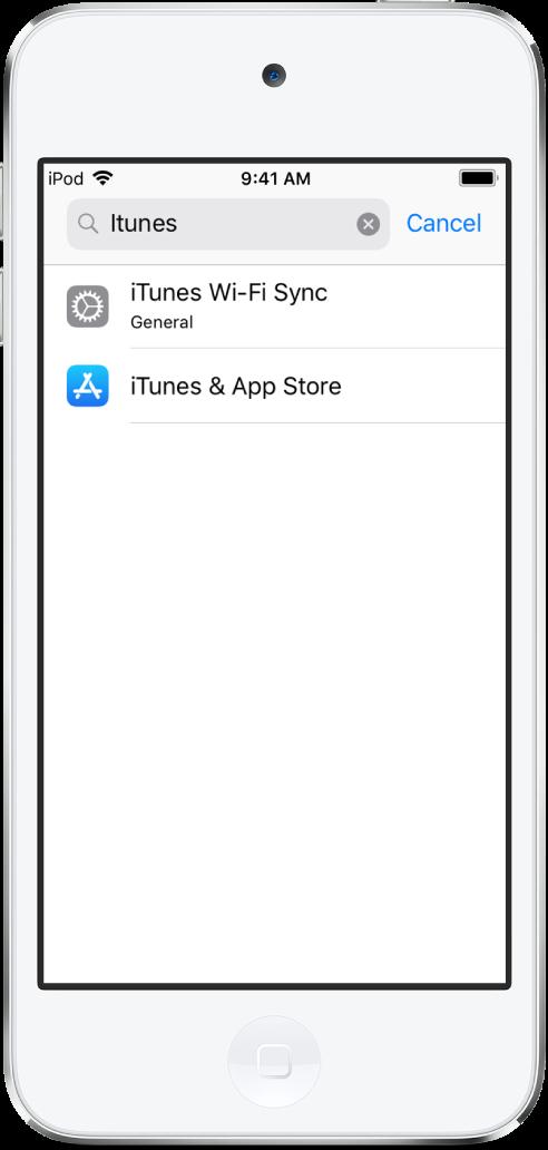 화면 상단에 검색 필드가 있는 설정 검색 화면. 검색 필드에 검색 스트링 'iTunes'가 있고 그 아래의 목록에 있는 검색된 2개의 설정.