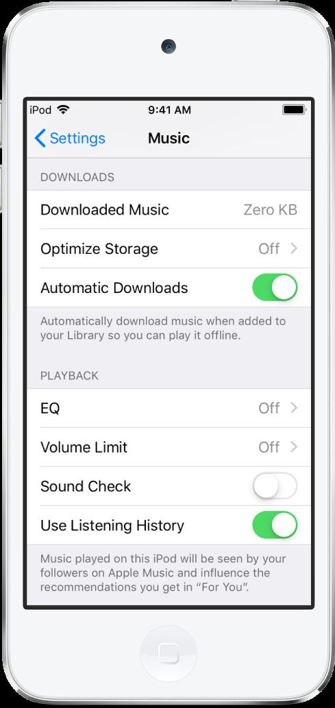 자동 다운로드가 켜진 설정 앱의 음악 화면.