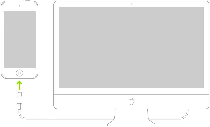 Lightning-USB 케이블을 사용하여 Mac 컴퓨터에 연결되어 있는 iPodtouch.