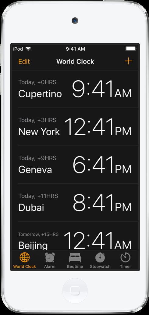 여러 도시의 시간을 볼 수 있는 세계 시계 탭. 시계를 설정하려면 왼쪽 상단의 편집을 탭하십시오. 더 추가하려면 오른쪽 상단의 추가 버튼을 탭하십시오. 하단을 따라 있는 알람, 취침 시간, 스톱워치 및 타이머 버튼.