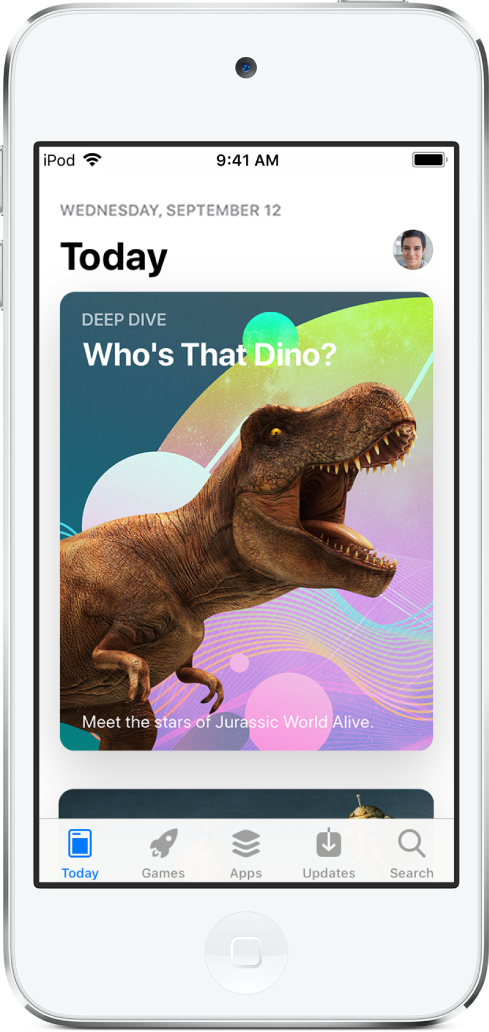 AppStore 的 Today 畫面顯示精選 App。螢幕底部從左到右依序是︰Today、「遊戲」、App、「更新項目」以及「搜尋」按鈕。