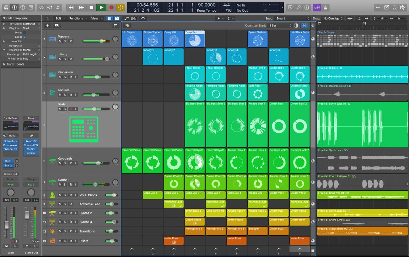 Logic Pro X project playing.
