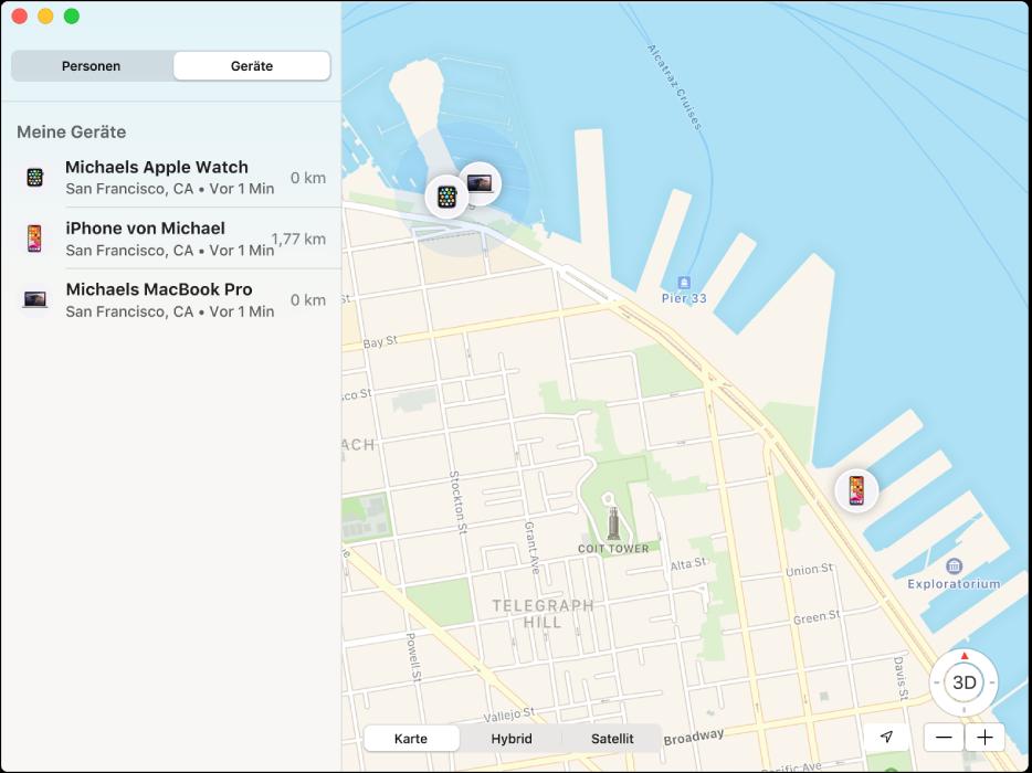 """Die App """"Wo ist?"""" zeigt eine Liste der Geräte in der Seitenleiste und rechts eine Karte mit deren Standorten."""