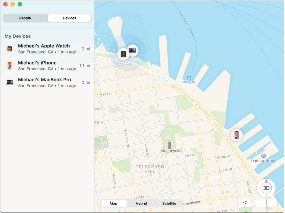 The Find My app showing a list of devices in the sidebar and their locations on a map on the right.