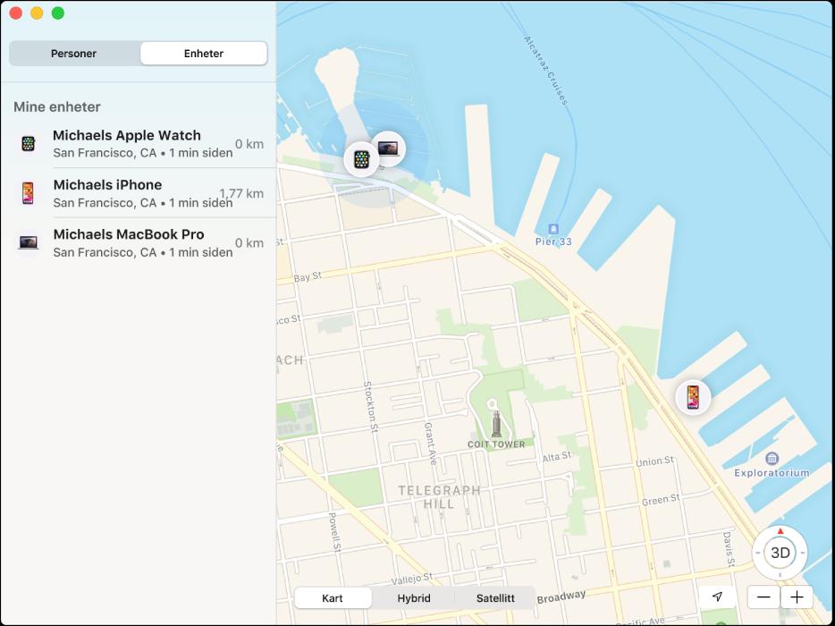 Hvor er?-programmet viser en liste over enheter i sidepanelet, og posisjonene deres på kartet til høyre.