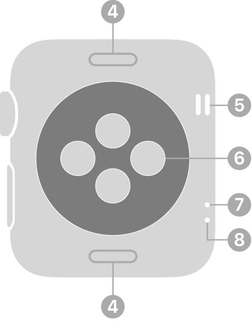 Die Rückseite der AppleWatch Series 3 und neuer mit Beschriftungen für Entriegelungstaste, Lautsprecher, optischem Herzsensor, Luftöffnung und Mikrofon.