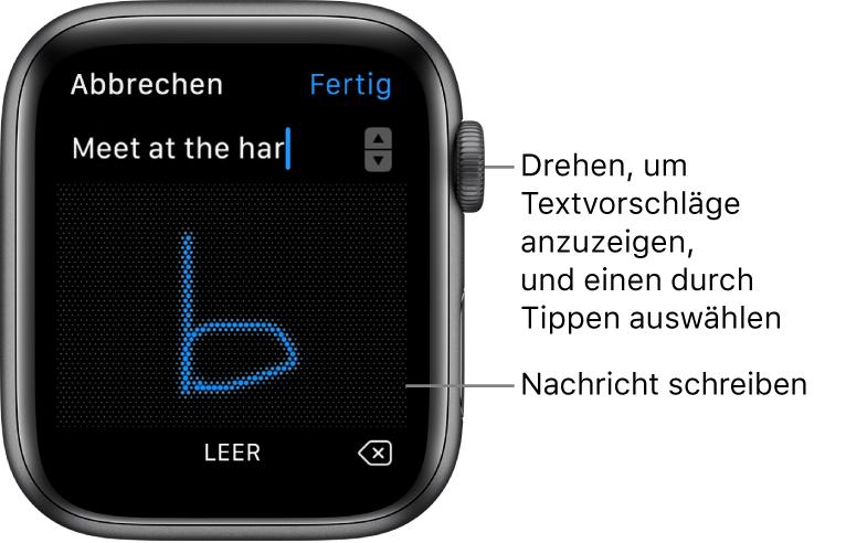 Der Bildschirm, in dem du eine Antwort kritzelst. Oben werden Textvorschläge angezeigt, in der Mitte schreibst du deine Nachrichten.