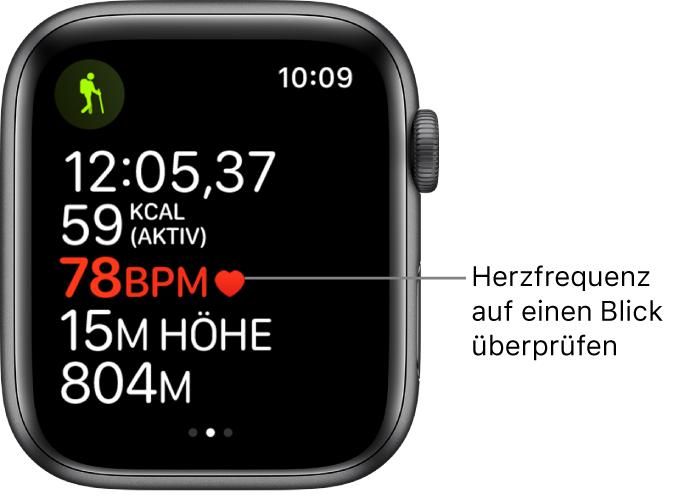 """Ein Bildschirm mit Trainingsdaten, einschließlich verstrichener Zeit und Herzfrequenz. Die Beschriftung lautet beispielsweise """"Herzfrequenz auf einen Blick überprüfen""""."""