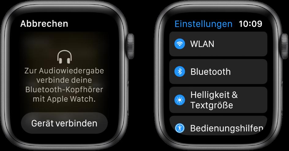 """Wenn du als Audioquelle die AppleWatch wählst, bevor du Bluetooth-Lautsprecher oder-Kopfhörer gekoppelt hast, erscheint unten auf dem Display die Taste """"Ein Gerät verbinden"""", die die Bluetooth-Einstellungen auf deiner AppleWatch öffnet, wo du ein Audiogerät auswählen kannst."""