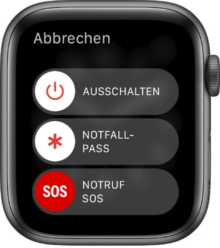 """Display der AppleWatch mit drei Reglern: """"Ausschalten"""", """"Notfallpass"""" und """"Notruf SOS"""""""