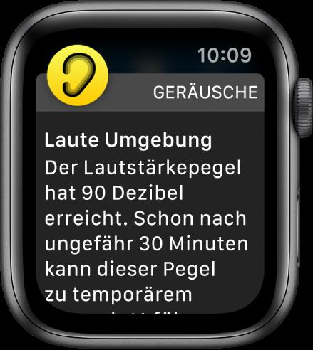 Apple Watch, auf der eine Geräuschpegelwarnung zu sehen ist Das Symbol für die App, zu der die Mitteilung gehört, wird oben links angezeigt. Du kannst darauf tippen, um sie in der App zu öffnen.