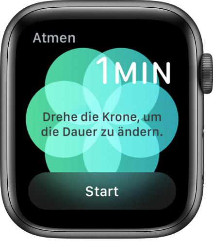 """Die App """"Atmen"""". Oben rechts wird die Dauer von einer Minute angezeigt und unten rechts die Taste """"Start""""."""
