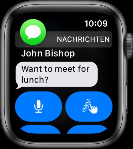 """Die AppleWatch mit einer Nachricht in der App """"Nachrichten""""."""