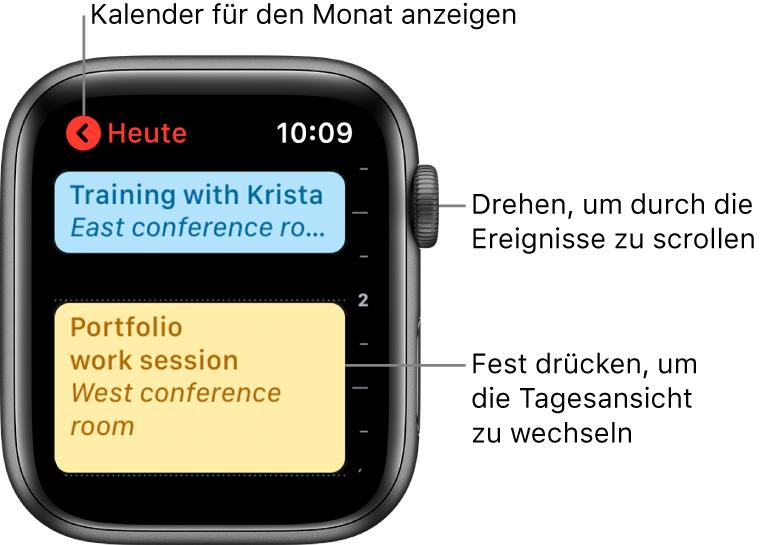 """App """"Kalender"""" mit der Ereignisliste für den Tag."""