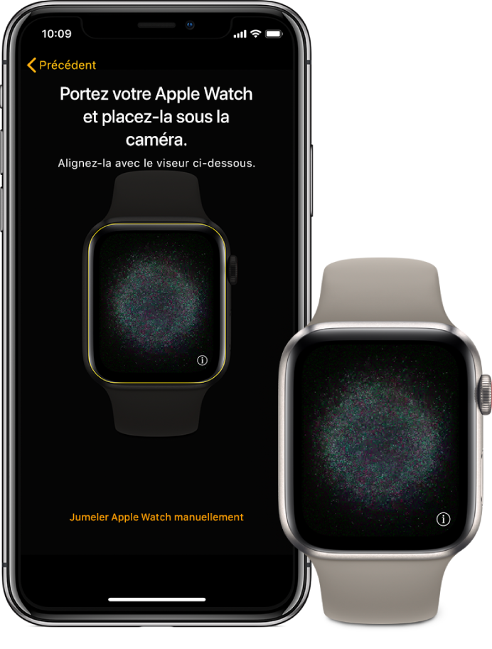 Un iPhone et une AppleWatch qui affichent leur écran de jumelage.